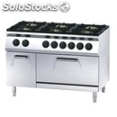 Gas cooker n. 6 burners with gn 1/1 static electric oven and ambient cupboard -