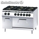 Gas cooker n. 6 burners with gn 2/1 static electric oven - mod. fn96qhf - pilot