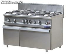 Gas range 6 burners with gas oven gn 2/1