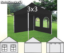 Gazebo plegable 3x3m negro