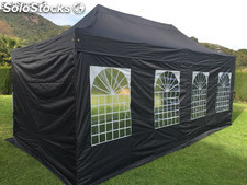 Gazebo plegable 3x6m negro