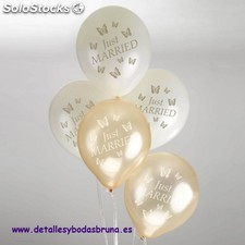 Globos Just Married Mariposa Oro y Marfil. Globos para boda