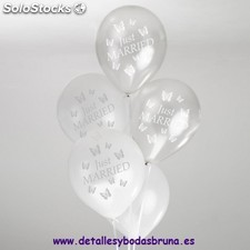 Globos Just Married Mariposa Plata y Blanco. Globos especiales para boda