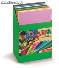 Goma eva expositor carton 120 laminas x 12 colores 40x60cm 2mm faibo