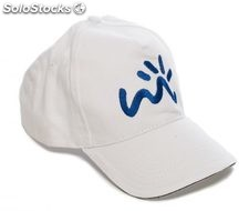 Gorra color blanco bordado en azul