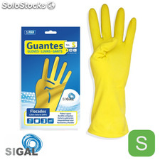 Guante flocado amarillo talla s - sigal - 8436026673430 - si-101-am-p