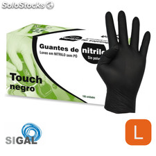 Guante nitrilo sp touch negro 100UDS talla g - sigal - 8436026596272 -