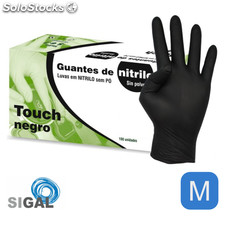 Guante nitrilo sp touch negro 100UDS talla m - sigal - 8436026596265 -