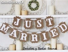 Guirnalda Just Married Kraft. Banderin decoracion Boda