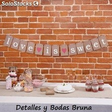 Guirnalda Kraft Love is Sweet. Decoracion banderin boda