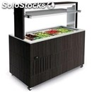 Heated buffet counter with flat top - mod. venezia pc - wooden structure - high