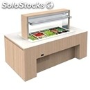 Heated island buffet counter with flat top - mod. venezia luxus pc - wooden