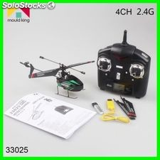 Helicoptero negro verde mould king 2.4GHz rc 4 ch lcd gyro 2 aspas