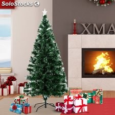 HomCom Arbol de Navidad Verde Φ74x150cm + Luces LED Arbol Artificial