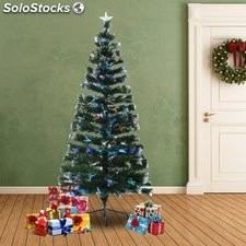 HomCom Arbol de Navidad Verde Φ84x180cm + Luces LED Arbol Artificial