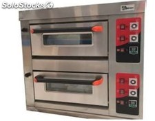 Horno de pizza doble 4+4 de 26 cm a gas 90X65X108 cm industrial