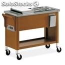 Hot bain marie trolley - mod. 6600s - solid wood structure - stainless steel