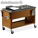 Hot bain marie trolley - mod. 6602s - solid wood structure - stainless steel