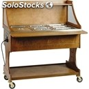 Hot bain marie trolley - mod. cl2772 - for buffets - solid wood structure -