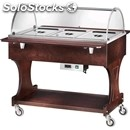Hot bain marie trolley - mod. cl2777 - solid woode structure - temperature +30°