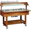 Hot bain marie trolley - mod. elc2828 - solid wood structure - temperature +30°