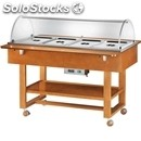 Hot bain marie trolley - mod. elc2832 - solid wood structure - temperature +30°