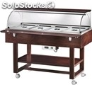 Hot bain marie trolley - mod. elc2834 - solid wood strcuture - temperature +30°