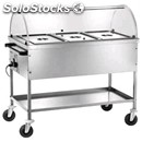 Hot bain marie trolley with semi-circular dome lid - mod. ct1760c - stainless