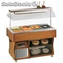 Hot island buffet display - mod. islanddry - wooden frame - stainless steel tank