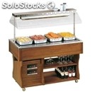 Hot island buffet display - mod. islandhot - wooden frame - supply single phase