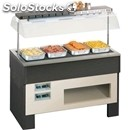 Hot island buffet display - mod. nexthot - wooden frame - supply single phase v