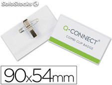 Identificador con pinza e imperdible q-connect kf01567 -54x90 mm.