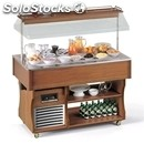 Island buffet display with refrigerated countertop - mod. coldm - wooden frame -