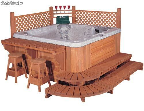 Jacuzzi spa mobiliario madera roble incluido for Jacuzzi exterior medidas