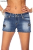 Jeansshort mit Paillettenapplikation
