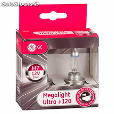 Juego de lamparas H7 Megalight Ultra +120% de luz General Electric