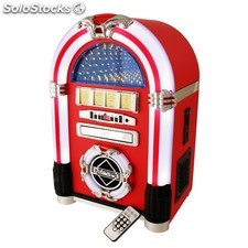 Jukebox en vinilo rojo con radio/Cd/reproductor Mp3/Usb/Sd y mando a distancia.