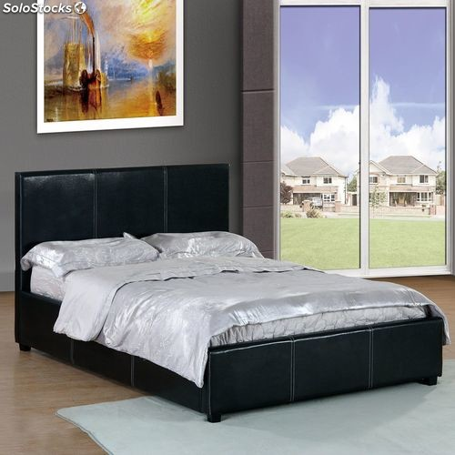 kanapee bett zur aufbewahrung zusammenklappbar mit kopfteil pu schwarz 190x137 angebote. Black Bedroom Furniture Sets. Home Design Ideas