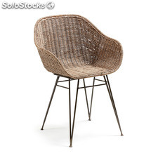 Kavehome - Silla con brazos..., disponible en Fibra natural,Metal y de color