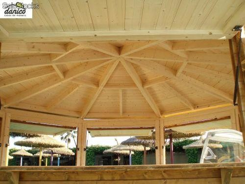 kiosco de madera octogonal x con paredes de 40mm