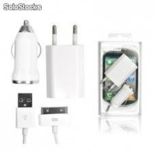 Kit chargeurs pack 3 en 1 iphone 3g/3gs/4g/4s/ipod