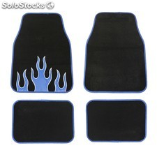 Kit de 4 alfombrillas negras con bordes azules