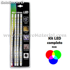 Kit de 4 tiras led smd5050 de 30 cm ip20 luz rgb multicolor
