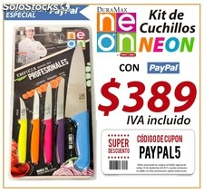 Kit de cuchillos neon multicolor