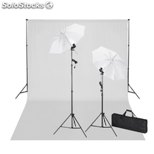 Kit de estudio: Telón blanco croma 600x300 & luces