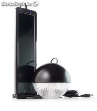 Kit iluminacion led recargable solar usb negro