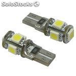 Kit lamparas posicion s/c 12V , 5 led smd , can bus T10 , 10 x 28 mm , 2,1 w. x