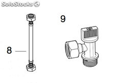 "Kit llave de paso 1/2""x1/2"" + flexible meridian in-tank (unión..."