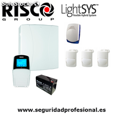 Kit Risco Lightsys 2 - central + teclado lcd + bateria + 3 detectores