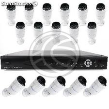 Kit video sorveglianza DVR con 16 camere piedistallo compatibili HDMI VGA CVBS
